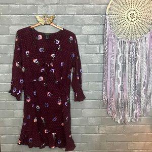 forever 21 contemporary // plum pansies dress m